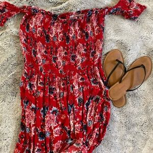 💋 Hot Kiss Red Floral Maxi Dress